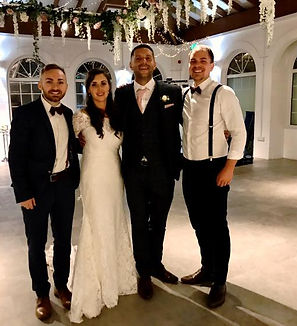 An acoustic wedding duo with a happy couple after a fantastic wedding day in at Irnham Hall, Grantham The band has just provided live music and a bespoke DJ for their beautiful summer wedding. The couple left a great review..