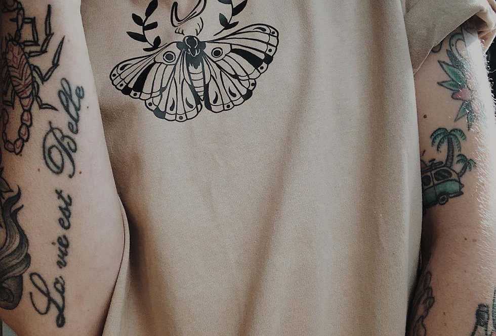 Chest Piece Beige Tee