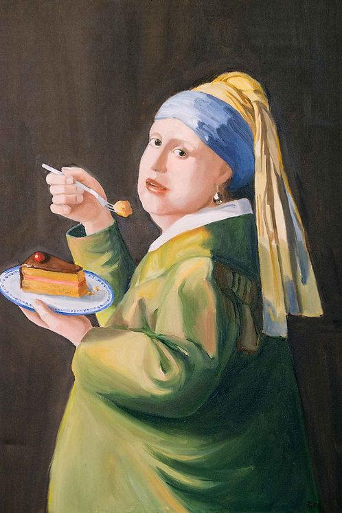 Das Mädchen mit der Delfter Torte (Leinwand)