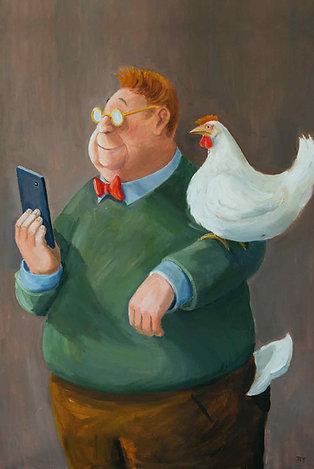 Selfi mit Huhn (DIN A4)