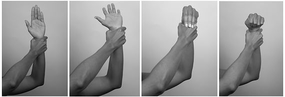 4 b&W photos of a persons arms and hands depicting a series of motions. 1st is right hand holding left hand wrist while left hand is in high-five posiion with palm facing forward. 2nd is left hand bracing right wrist with right hand palm facing up while the hand flexes backward. 3rd is left hand bracing right wrist and right hand bending forward with fingers touching as if making a hand puppet. 4th is left hand bracing right wrist with right hand in fist bend forward.