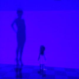 blue hue silhouette photo of small child