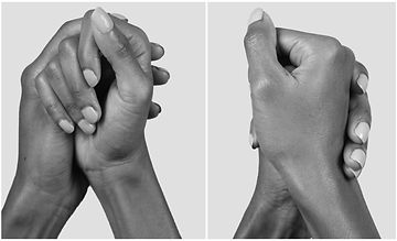 Two b&w images, side by side of a persons hands gently clasped together from two different angles.
