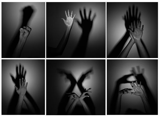 Series of 6 b&W photos of a person creating shadows on a wall with their hands.