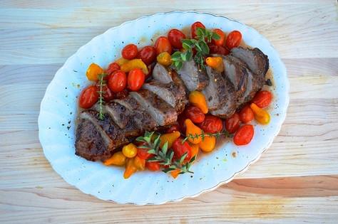 Honey-Balsamic Pork Tenderloin Roasted Tomatoes