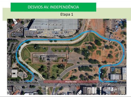 Avenida Independência fica interditada a partir dessa terça-feira (8)