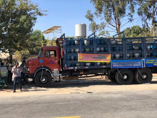 Distribuidores de gás param as atividades por um dia em Goiânia
