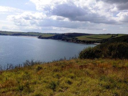 View from Black Head with Pentewan Sands in the distance