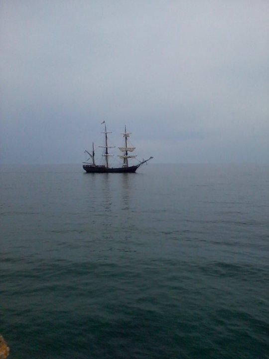 Tall ship sails past Charlestown