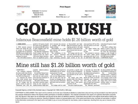 Oakmount and Partners Ltd. NQ Minerals Beaconsfield Mine JORC Gold Resource.