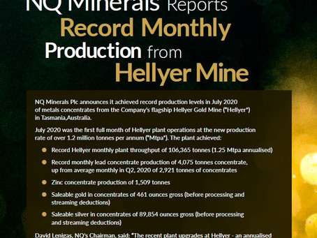 Oakmount and Partners Ltd. NQ Minerals Newsletter in August 2020.