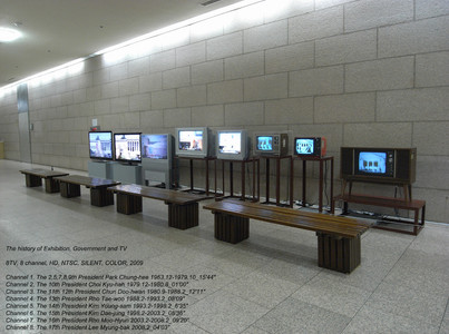 "title: The history of Exhibition, Government and TV  - date: 2009, 8TV, 8 channel, HD, NTSC, SILENT, COLOR  - content: 8TV, 8 channel, HD, NTSC, SILENT, COLOR, 2009 Channel 1. The 2,5,7,8,9th President Park Chung-hee 1963.12-1979.10_15'44"" Channel 2. The 10th President Choi Kyu-hah 1979.12-1980.8_01'00"" Channel 3. The 11th 12th President Chun Doo-hwan 1980.9-1988.2_12'11"" Channel 4. The 13th President Rho Tae-woo 1988.2-1993.2_08'09"" Channel 5. The 14th President Kim Young-sam 1993.2-1998.2_6'35"" Channel 6. The 15th President Kim Dae-jung 1998.2-2003.2_08'36"" Channel 7. The 16th President Rho Moo-Hyun 2003.2-2008.2_09'20"" Channel 8. The 17th President Lee Myung-bak 2008.2_04'03"" 박정희_15'44"", 최규하_01'00"", 전두환_12'11"", 노태우_08'09"", 김영삼_6'35"", 김대중_08'36"", 노무현_09'20"", 이명박_04'03"""