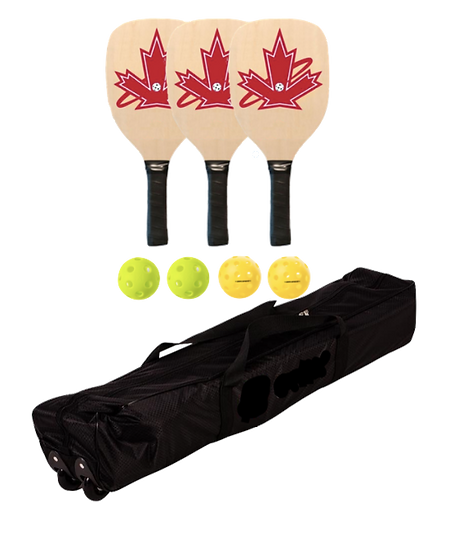 Premium Wooden 3 Paddle + Net Package