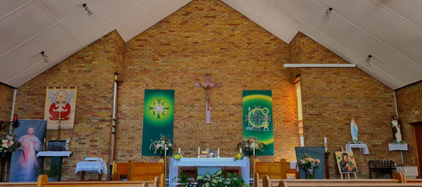 Sanctuary with Banners in Ordinary Time