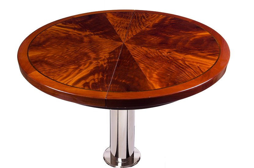 CROTCH MAHOGANY ROUND TABLE TOP WITH EXPANSION LEAF