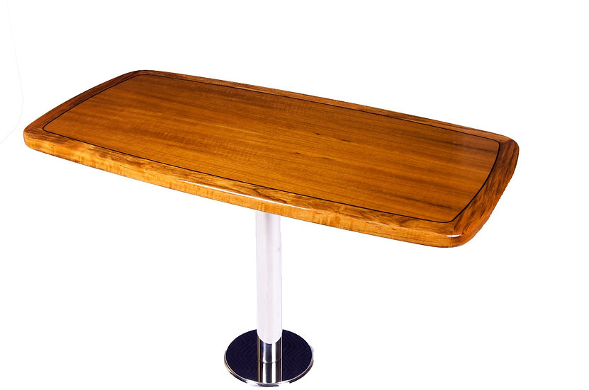 BOWED RECTANGULAR TEAK TABLE TOP WITH BLACK STRIPE INLAY
