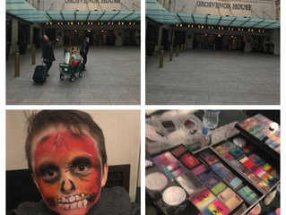 Quick face painting designs at Grosvenor House 14th January 2018.