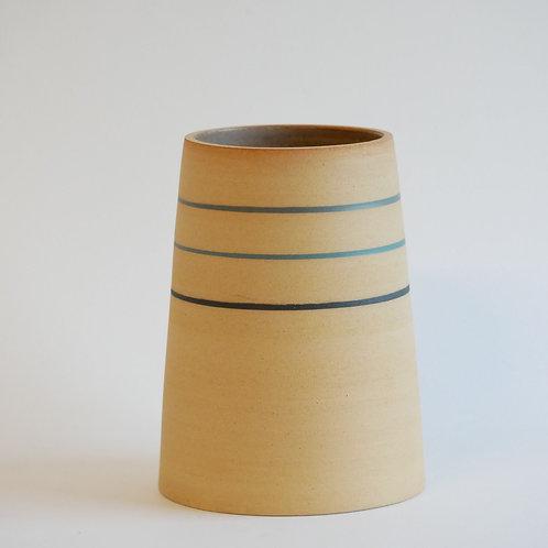 Vase à rayures colorées - grès roux