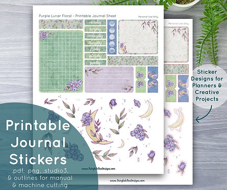 Purple Floral Moon Printable Journal & Sticker Sheet