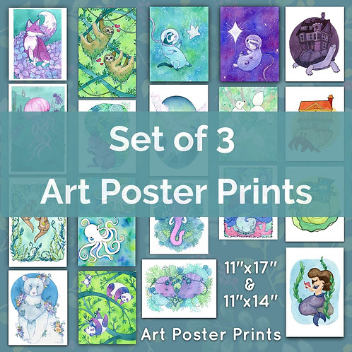 3 Large Poster Art Prints (Set of Any 3)