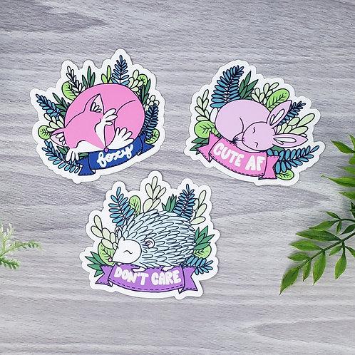 Sassy Sleepy Animal Vinyl Sticker Set