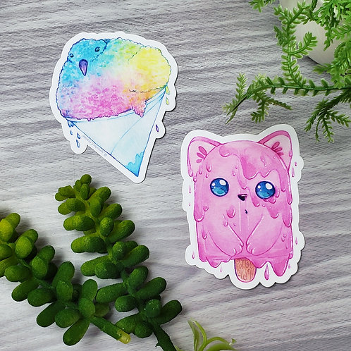 Bird & Cat - Frozen Treat Melty Animal Vinyl Sticker Set