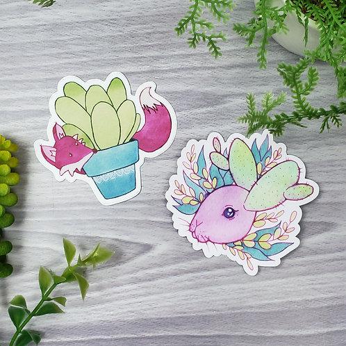Fox & Bunny - Cactus Animal Vinyl Sticker Set
