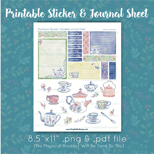Mushroom Tea Set Printable Journal & Sticker Sheet
