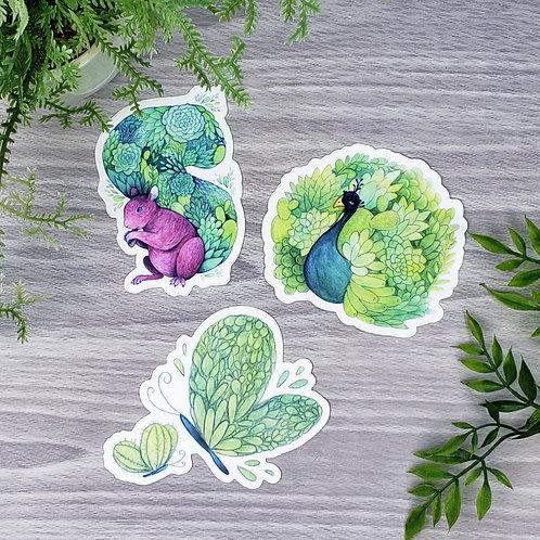 Succulent Animal Vinyl Sticker Set (Squirrel, Peacock, & Butterflies)