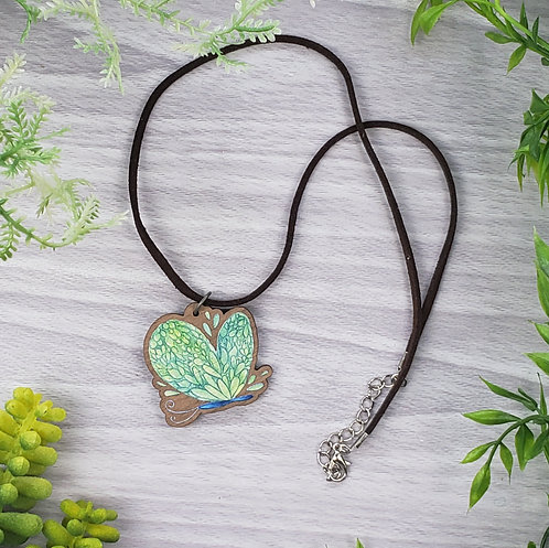 Succulent Butterfly Wood Pendant Necklace