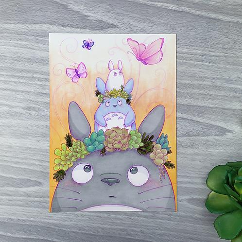 Totoro & Plants Small Fine Art Print (1 Print)