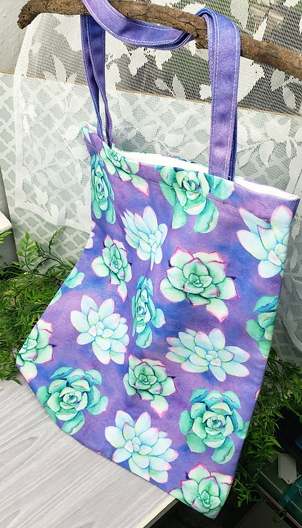 Succulent Zippered Large Tote Bag