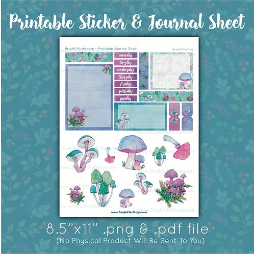 Bright Mushroom Printable Journal Sheet