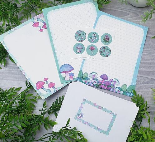 Bright Mushroom Stationery Set