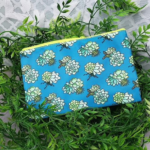 Green Succulent Pattern Zipper Pouch