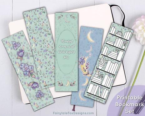 Floral Moon Printable Bookmark Set