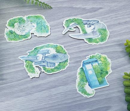 Sci-fi Succulents in Space Fanart Vinyl Sticker Set