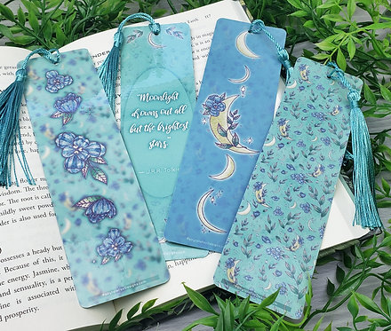 Purple Floral Moon Bookmarks
