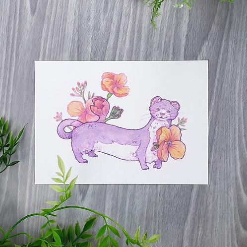 Wallflower Weasel Fine Art Print