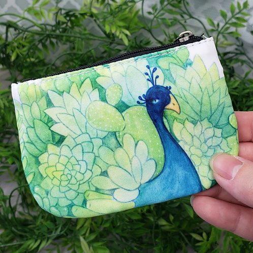 Succulent Peacock Coin Purse