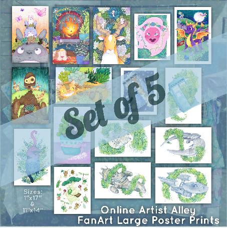 Large Fan Art Poster Prints (Set of 5)