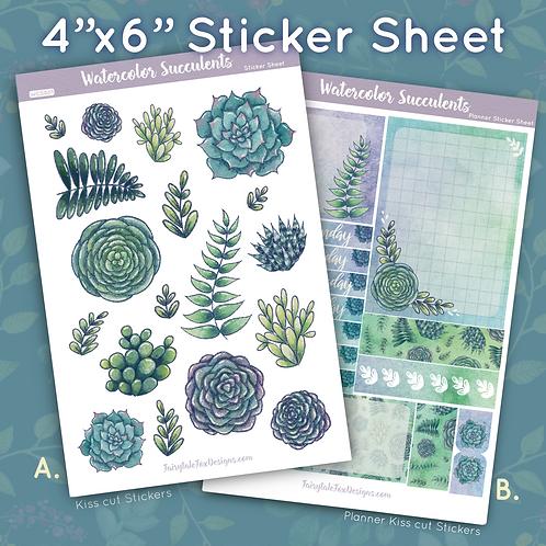 Watercolor Succulents Sticker Sheet