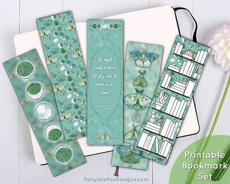 Lunar Moth Printable Bookmark Set
