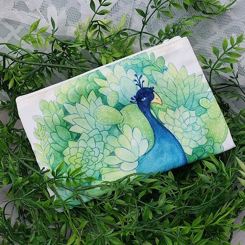 Succulent Peacock Zipper Pouch