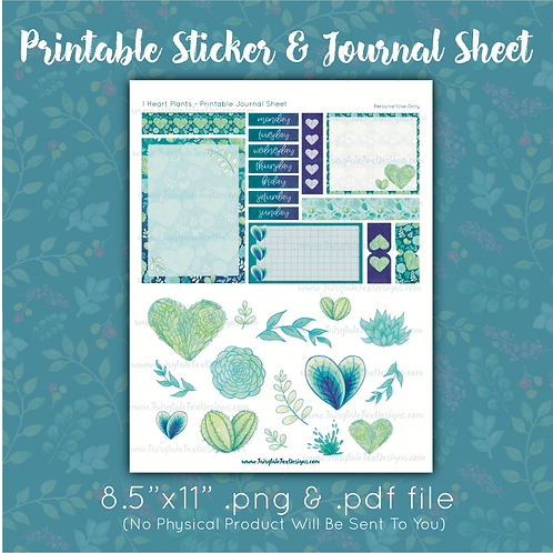 I Heart Plants Printable Journal Sheet