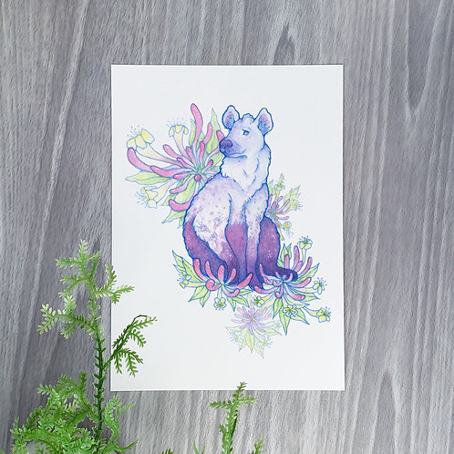 Honeysuckle Hyena Fine Art Print