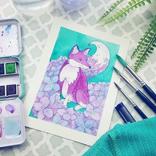 _Hydrangea Fox_ ...Finally made more art