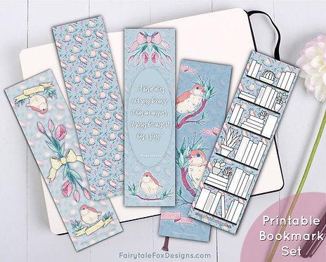 Birds & Bows Printable Bookmark Set