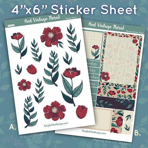 Red Vintage Floral Sticker Sheet