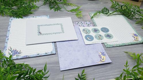 Purple Floral Moon Stationery Set